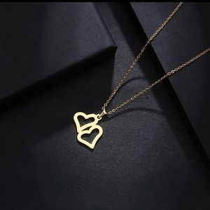 Jewelry - Stainless Steel Necklace  Lover's Double Heart Gol